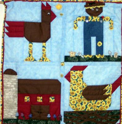 This wall hanging was made for the NH farm museum challenge. It features a scarecrow, chicken, rooster and barn.Constructed using 100% cotton fabrics, embelished with whimsicle buttons.Machine pieced & quilted by Linda Monasky<br /><br />
